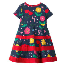 Dress navy blue female Cotton 100% summer Europe and America Short sleeve cotton AD001 Class A 2 years old, 3 years old, 4 years old, 5 years old, 6 years old, 7 years old
