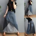 skirt Autumn 2020 Average size Denim color matching longuette commute Natural waist A-line skirt Type A Retro