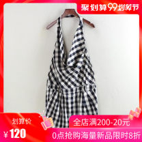 Dress Summer 2017 Black and white check XS,S,M,L Short skirt singleton  Sleeveless commute other High waist lattice Socket other other Hanging neck style 25-29 years old Type A Other / other A3978