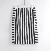 skirt Summer of 2018 S. XS hole, s hole, m hole, s yellowing, XS., M., s defect, s stain, XS hole fading, s fading hole black and white Mid length dress Versatile High waist skirt stripe Y00629