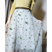 skirt Spring 2021 S,M,L,XL Light blue Mid length dress Versatile High waist High waist skirt Q3016 WWOUHHOVI / Behind the house Embroidery