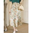 skirt Spring 2021 S,M,L,XL,2XL Decor Middle-skirt High waist High waist skirt Decor Type A Q3069 More than 95% Crepe de Chine WWOUHHOVI / Behind the house zipper