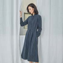 Dress Spring 2021 Gray blue XS S M L XL Mid length dress singleton  Long sleeves commute stand collar middle-waisted Solid color Single breasted routine 25-29 years old Q.TU literature LQ2802 31% (inclusive) - 50% (inclusive) cotton Cotton 48% others 52% Pure e-commerce (online only)