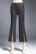 Casual pants Black, dark blue, grey Average size Summer 2020 Ninth pants Flared trousers Natural waist commute routine 25-29 years old Simplicity fold
