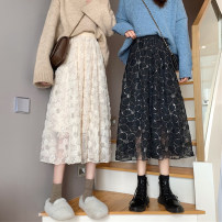 skirt Winter 2020 Average size Apricot, black longuette Sweet High waist A-line skirt Broken flowers Type A 18-24 years old 30% and below Chiffon polyester fiber Embroidery solar system