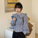 shirt White, check Average size Spring 2021 other 30% and below Long sleeves Sweet Short style (40cm < length ≤ 50cm) Doll Collar Single row multi button routine lattice 18-24 years old Straight cylinder Button solar system