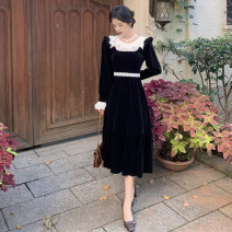 Dress Autumn 2020 black M, S Mid length dress singleton  Long sleeves Sweet Crew neck High waist Solid color Socket A-line skirt routine 18-24 years old Type A Lace college