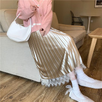 skirt Winter 2020 Average size Apricot, black Mid length dress Sweet High waist A-line skirt other Type A 18-24 years old fold college