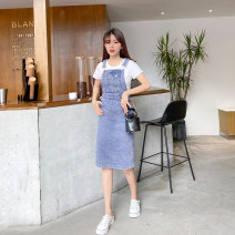 Dress Summer 2020 Denim blue XXS,XS,S,M Mid length dress singleton  Sleeveless square neck High waist Solid color Socket A-line skirt other straps Type A 31% (inclusive) - 50% (inclusive) Denim cotton