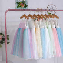 Dress White, green, blue, white, pink, blue, golden beige, rainbow decor female Other / other 90cm,100cm,110cm,120cm,130cm,140cm,150cm Polyester 100% summer Korean version Skirt / vest Solid color chemical fiber Lotus leaf edge 2A02 suspender skirt other Chinese Mainland Liaoning Province Anshan City