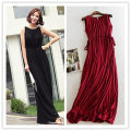 Dress Summer 2020 longuette singleton  Sleeveless commute One word collar High waist Solid color Socket Big swing routine Others Type A Korean version Frenulum T366 81% (inclusive) - 90% (inclusive) knitting modal