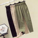 Women's large Spring 2021 Army green, khaki, black XL [recommended 125-140 kg], 2XL [recommended 140-160 kg], 3XL [recommended 160-180 kg], 4XL [recommended 180-200 kg] trousers singleton  commute easy moderate Solid color Korean version other Three dimensional cutting Other / other pocket