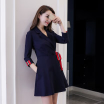 Dress Spring of 2018 Picture color S,M,L,XL Short skirt singleton  three quarter sleeve commute V-neck High waist Solid color other A-line skirt routine Others 18-24 years old Type A Korean version 30% and below nylon