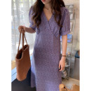 Dress Summer 2021 Green, blue Average size longuette singleton  Short sleeve commute V-neck High waist Decor Socket A-line skirt bishop sleeve Others 25-29 years old Type A Korean version zipper 31% (inclusive) - 50% (inclusive) Chiffon other