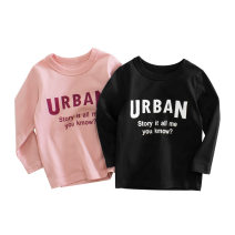 T-shirt Ht336 pink, ht336 black 27home 120cm,110cm,140cm,130cm,100cm,90cm female spring and autumn Long sleeves Crew neck Korean version cotton letter HT336 Class A hygroscopic and sweat releasing 3 months