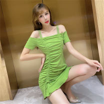 Dress Summer 2020 Black, Burgundy, grey, green S,M,L,XL Short skirt singleton  Short sleeve commute One word collar middle-waisted Solid color Socket Ruffle Skirt routine camisole 18-24 years old Type A other Korean version Ruffle, tuck, open back, fold Ruffle Skirt 81% (inclusive) - 90% (inclusive)