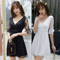 Dress Summer of 2019 White, black S,M,L,XL Short skirt singleton  Short sleeve commute V-neck middle-waisted Solid color Socket Princess Dress routine Others 18-24 years old Type A other lady 810# More than 95% other other