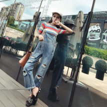 Fashion suit Summer of 2018 S M L Striped blue pants 18-25 years old