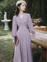 Dress Summer 2021 violet S,M,L,XL Mid length dress singleton  Long sleeves commute V-neck High waist Solid color zipper A-line skirt puff sleeve Type A Other / other lady