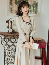Dress Summer 2021 Apricot S,M,L longuette singleton  Long sleeves commute square neck High waist Solid color Pleated skirt routine Type A Other / other literature Button, button
