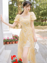 Dress Summer 2021 canary yellow S,M,L,XL Mid length dress singleton  Short sleeve Sweet square neck High waist Broken flowers zipper other puff sleeve Type A Hollowed out, embroidered, stitched