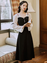 Dress Summer 2021 black S,M,L longuette singleton  Long sleeves commute square neck High waist Solid color zipper A-line skirt pagoda sleeve Type A Other / other lady Embroidery, lace up, stitching, buttons