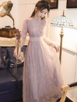 Dress Summer 2021 lavender S,M,L,XL longuette singleton  Long sleeves commute stand collar High waist other zipper Big swing pagoda sleeve Type A Retro Embroidery, stitching, buttons, mesh, lace