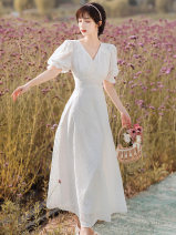 Dress Summer 2021 white S,M,L longuette singleton  Short sleeve commute V-neck High waist Solid color zipper A-line skirt puff sleeve Type A Other / other Retro Embroidery, buttons