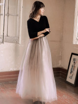 Dress Summer 2021 Black and white S,M,L longuette singleton  Long sleeves commute V-neck High waist Solid color Princess Dress routine Type A Other / other lady Splicing, mesh