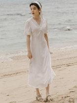 Dress Summer 2021 white S,M,L Mid length dress singleton  Short sleeve commute V-neck High waist Solid color zipper A-line skirt Type A Retro Lace, stitching