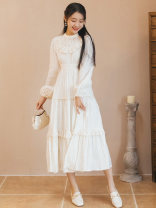 Dress Summer 2021 white S,M,L Mid length dress singleton  Long sleeves commute stand collar High waist Solid color zipper A-line skirt bishop sleeve Type A Retro Auricularia auricula, stitching, lace