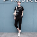 Women's large Summer 2021 black XL < recommended 140-160 kg, 2XL < recommended 160-185 kg, 3XL < recommended 185-230 kg T-shirt Two piece set commute easy thin Socket Short sleeve Letters, cartoons Korean version Crew neck routine cotton Three dimensional cutting routine Chishuang Diamond inlay