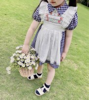 Dress Two Plaid fake pants female petit kami 80cm,90cm,100cm,110cm,120cm,130cm Cotton 95% polyethylene terephthalate (polyester) 5% summer lady Short sleeve lattice cotton A-line skirt 18 months, 2 years old, 3 years old, 4 years old, 5 years old, 6 years old, 7 years old