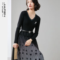 Dress Winter 2020 Black and blue flower S M L XL longuette singleton  Long sleeves commute V-neck Decor Socket A-line skirt routine 30-34 years old Type X Jiafen Ol style Zipper printing D06205E 51% (inclusive) - 70% (inclusive) polyester fiber Pure e-commerce (online only)