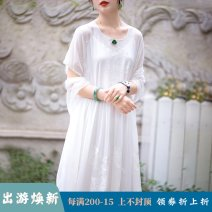 Dress Summer of 2019 white S code (spot), M code (spot), l code (spot) longuette other Short sleeve commute Crew neck Loose waist Animal design Socket Big swing other Others Type H A city full of wind Retro More than 95% other silk
