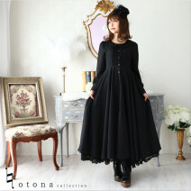 Dress Spring 2020 Black (without skirt) S,M,L,XL,2XL longuette singleton  Long sleeves Sweet Doll Collar Loose waist Solid color Princess Dress shirt sleeve Others 18-24 years old Fold, Auricularia auricula, stitching, button solar system