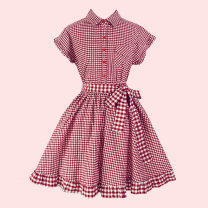 Dress Summer 2020 Red, black L,M,S Short skirt Two piece set Short sleeve Sweet Polo collar middle-waisted lattice Single breasted Princess Dress Flying sleeve Others 18-24 years old Type A Bow, tie M0125 81% (inclusive) - 90% (inclusive) brocade cotton solar system
