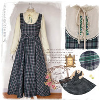 Dress Autumn of 2019 Picture color XS,S,M,L,XL,2XL longuette Fake two pieces Long sleeves Sweet stand collar High waist lattice Big swing Petal sleeve Others 18-24 years old Type A 51% (inclusive) - 70% (inclusive) polyester fiber solar system