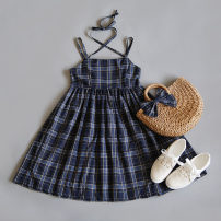 Dress Summer 2020 Middle-skirt singleton  Sleeveless Sweet Crew neck Loose waist lattice Princess Dress other camisole 18-24 years old Type A Lace up More than 95% other cotton solar system