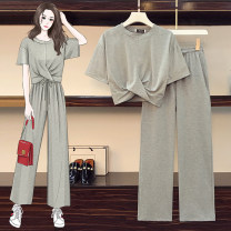 Women's large Summer 2021 Grey suit, white suit, white coat, grey coat, grey trousers, black trousers Large XL, large XXL, large XXL, large XXXXL, large L trousers Two piece set commute Straight cylinder moderate Socket Short sleeve Solid color Korean version Crew neck routine other JFL4F082P674K8965