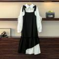 Women's large Spring 2021 Picture color suit, shirt, black skirt Large M (80-100kg), large L (100-120kg), XL (120-140kg), 2XL (140kg-160kg), 3XL (160kg-180kg), 4XL (180kg-200kg) Dress Two piece set commute easy moderate Socket Long sleeves lattice Korean version routine JFL1F079P675K6758+6759 Button