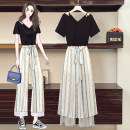 Women's large Summer 2021 White pants suit, blue pants suit, top, blue pants, white pants Large XL, large XXL, large XXL, large XXXXL, large L trousers Two piece set commute easy moderate Socket Short sleeve Korean version V-neck routine other routine JFL4F082P686K8933 25-29 years old trousers