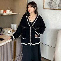 Women's large Spring 2021, summer 2021 Apricot, black singleton  commute easy Cardigan Long sleeves Stripe, solid color Korean version V-neck routine routine 25-29 years old pocket 51% (inclusive) - 70% (inclusive)