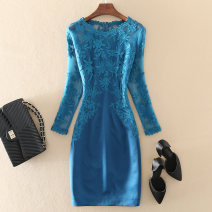 Dress / evening wear Wedding, adulthood, party, company annual meeting, routine, performance, dating XXL,XXXL,S,M,L,XL Red, peacock blue, blue, crimson grace Medium length High waist Autumn of 2019 Self cultivation Cotton, mesh, spandex 36 and above 19F7081A Nine point sleeve Embroidery other routine