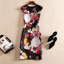 Dress Spring of 2019 Decor S,M,L,XL,2XL Mid length dress singleton  Sleeveless street Crew neck middle-waisted Decor Socket other routine Others Type H printing 19F2064 other other Europe and America