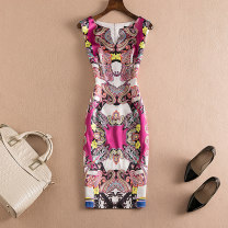 Dress Summer 2017 Decor S M L XL 2XL Mid length dress singleton  Sleeveless street V-neck High waist other Socket One pace skirt other Others Type H printing 17FF01AA297 other other Europe and America