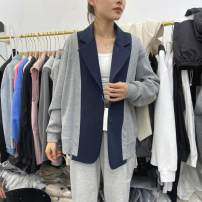 short coat Spring 2021 M,L,XL grey Long sleeves routine Thin money singleton  Straight cylinder commute routine tailored collar Single breasted Dot Splicing