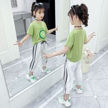 suit Other / other Black, white, black, green, white, green, black 160cm,150cm,140cm,130cm,120cm,110cm female summer leisure time Short sleeve + pants 2 pieces Thin money There are models in the real shooting Socket nothing Cartoon animation Cotton blended fabric elder Learning reward TTY-3131