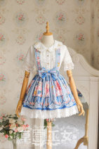Lolita / soft girl / dress Strawberry witch Dark blue, light blue, orange pink, lavender S,M,L,XL,2XL No season goods in stock Classic, Lolita