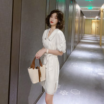 Dress Summer 2020 white 155/80A/S 160/84A/M 165/88A/L 170/92A/XL Short skirt singleton  Short sleeve commute V-neck High waist Solid color double-breasted A-line skirt 25-29 years old Type A R. Jstory / rejia Korean version Button 1O4O73712 91% (inclusive) - 95% (inclusive) polyester fiber
